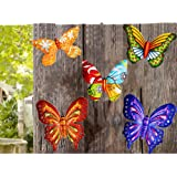 MIXUN 3D Metal Butterfly Wall Accents, Butterfly Wall Decor Sculpture Hang Outdoor Garden for Home, Bedroom, Living Room, Off