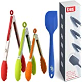 Kaluns Kitchen Tongs Set, 4 Piece -Multi Color- Stainless Steel 7-9-12 Inch Tong + Bonus Silicone Spatula Best Non-Stick, Hea