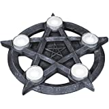 Nemesis Now Pentagram Tealight Holder 32 cm Grey, Size 32cm