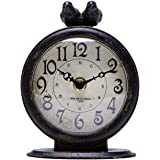 NIKKY HOME Antique Black Table Clock, Battery Operated Rustic Design, Classic Analog Desk Clock for Living Room Decor Shelf -