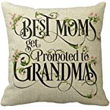Andreannie Best Best Moms Get Promoted to Grandmas Blessing Flower Characters Cotton Linen Throw Pillow Case Cushion Cover Ho