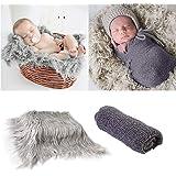 2Pcs Baby Newborn Photo Props Wraps & Photography Mat, DIY Newborn Baby Photo Blanket Swaddle Photography Props Wraps, Infant