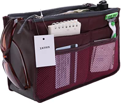 Zatous(ザータス)バッグインバッグ 多機能 大容量 収納バッグ インナーバッグ 化粧品収納ポーチ メイクバッグ 旅行 出勤 便利グッズ(パープル)bag in bag zi