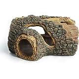 Hygger Betta Log Resin Hollow Tree Trunk Ornament, Aquarium Decorations Wood House Small and Medium Fish Tank Decor, with Hol