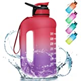 PASER 64oz Water Bottle with Straw & Dual Handle, BPA Free Water Jug Hydration with Motivational Time Marker Leak-Proof for C