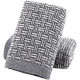 Pidada Hand Towels Set of 2 100% Cotton Checkered Pattern Highly Absorbent Soft Towel for Bathroom 13 x 29 Inch (Gray)