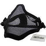 H&Co.select サバゲー フェイスマスク ハーフメッシュマスク フェイスガード ダブルバンド SGM-010 (ブラック)