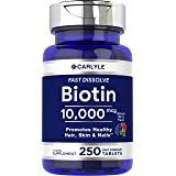 Biotin 10000mcg | 250 Fast Dissolve Tablets | Max Strength | Hair, Skin, and Nails Supplement | Vegetarian, Non-GMO, Gluten F