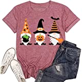 Beopjesk Women's Fall Gnome T-Shirt Funny Autumn Short Sleeve Halloween Graphic Tees Tops