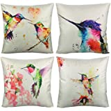 VAKADO Birds Outdoor Throw Pillow Covers Watercolor Painting Floral Hummingbirds Spring Patio Decorative Cushion Cases Home D