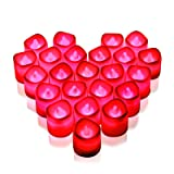 Rakumi Red LED Candles, Flameless Flickering Red LED Tea Light Candles, Battery Opearted LED Votive Candles for Wedding Birth