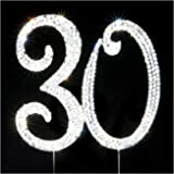 30 Cake Topper | Premium Bling Crystal Rhinestone Diamond Gems | Birthday or Anniversary Party Decoration Ideas | Quality Met