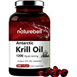 Triple Strength Antarctic Krill Oil Supplement, 1200mg Per Serving, 180 Softgels, Source of Natural Omega 3, EPA, DHA and Ast