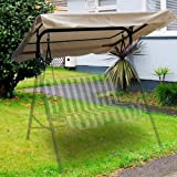 Flexzion Swing Canopy Cover - Deluxe Polyester Top Replacement UV Block Sun Shade Waterproof Decor for Outdoor Garden Patio Y