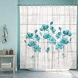 SUMGAR Teal Flower Shower Curtain for Bathroom Farmhouse Floral Decoration Curtain Set with Hooks, 72 x 72 inch