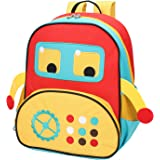 Yodo Little Kids School Bag Pre-K Toddler Backpack - Name Tag and Chest Strap, Car