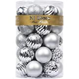 KI Store 34ct SMALL Christmas Baubles Ornaments Shatterproof Christmas Tree Decorations for Xmas Party Wedding Decor Ornament