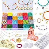 PP OPOUNT Jewelry Making Kit Includes 5500 Pieces Glass Seed Beads and 520 Pieces Alphabet Beads Letter Beads for DIY Arts an