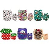 ALVABABY Pocket Cloth Diapers Reusable Washable Adjustable for Baby Boys and Girls,6 Pack with 12 Inserts 6DM22-AU