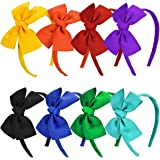 Vamotto 8 Pieces Bow Tie Headband Bow Tie Hairband for Baby Girls,Head Wraps Grosgrain Ribbon Hair Band Hair Accessories for