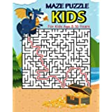 Maze Puzzle For Kids Age 8-10 Years: Dragon and Gold, Funny Maze Puzzle Game Book, Big Book Of Mazes for Kids, Amazing Maze L