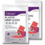 Txbizzer 2 Piece 1 Mil Heavy Duty Painter Plastic Drop Cloths Sheet,Waterproof Anti-dust Furniture Cover,9x12 Feet Disposable