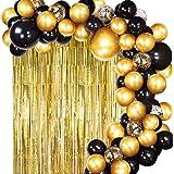 JOYYPOP DIY Black Gold Balloon Garland Arch Kit with Balloons Gold Tinsel Curtain for Wedding Birthday Party Supplies Decorat