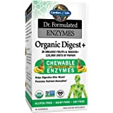 Garden of Life Organic Chewable Enzyme Supplement - Dr. Formulated Enzymes Organic Digest+, 90 Chewable Tablets