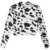 WDIRARA Women's Cow Print Mock Neck Long Sleeve Tee Casual Stretch T Shirts Top