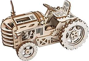 ROBOTIME 動く木製パズル トラクター TRACTOR ぜんまい式 レーザーカット 日本語訳説明書付き 135ピース 約238×118×140mm LK401