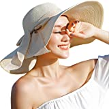 GMGD Womens Big Bowknot Straw Hat Floppy Foldable Roll up Beach Cap Sun Hat UPF 50+