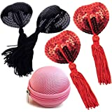 Reusable Silicone Sequin Adhesive Nipple Cover Pasties Bra with Tassel Heart Pasties Adhesive Nipple Cover (2 Pairs-Black+Red