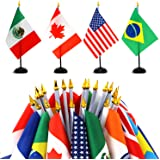 """ANLEY 24 Countries Deluxe Desk Flags Set - 8 x 5 Inches Miniature American US Desktop Flag with 13"""" Black Pole - Vivid Color"""