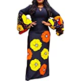 VERWIN Round Neck Long Sleeve Print Floral Women's Maxi Dress Pullover Dress Bodycon Dress