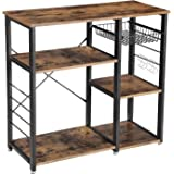 VASAGLE Industrial Kitchen Baker's Rack Utility Storage Shelf Microwave Oven Stand Metal Frame Wire Basket 6 Hooks Mini Ove