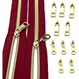 CYS #5 Zippers Tape by The Yard, Metallic Nylon Coil Red Zippers-5 Yards Upholstery with 10pcs Gold Sliders for DIY Sewing Ta