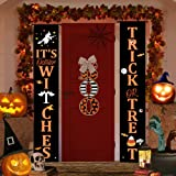 Halloween Decorations Outdoor Decor Clearance, Trick Or Treat & Boo Door Hanging Sign Banner for Fall Porch Home Indoor Decor