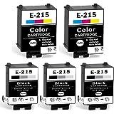 215 Ink Cartridges T215 Compatible for WF-100 WF-110 Printer (3 Black, 2 Tri-Color, Pigment, 5 Packs)