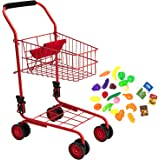 Toy Shopping Cart for Kids and Toddler - Includes Food - Folds for Easy Storage -  Metal Frame