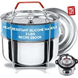 Silva Stackable Pressure Cooker Accessories Compatible with Instant pot 6 qt + 2 Lids + Safety Handle+ Recipe E-Book - Pot in