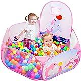 Kids Ball Pit Ball Tent, Likorlove Toddler Ball Pit with Basketball Hoop and Zippered Storage Bag,4 Ft Sea Ball Pool for Indo
