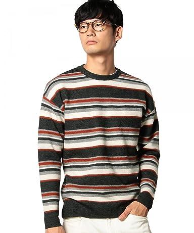 Boiled Wool Multi Stripe Crewneck Sweater 3213-130-0443: Brick