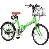 GRAPHIS (グラフィス) GR-FD 折りたたみ自転車 20インチ シマノ製6段ギア 折り畳みカゴ 鍵 ライト 反射シール付属 全15色
