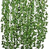 12 Strands Artificial Ivy Leaf Plants Vine Hanging Garland Fake Foliage Flowers Home Kitchen Garden Office Wedding Wall Decor