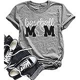 Baseball Mom Shirt Women's Short Sleeve O-Neck Letters Print Casual Tops Tees