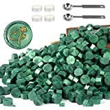 Yoption 360 Pcs Metallic Green Sealing Wax Beads Set for Wax Seal Stamp with Candles and Melting Spoon