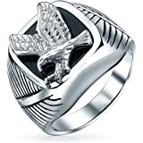 Mens Large Statement Black Patriotic USA Flying American Bald Eagle Square Signet Ring for Men Gold Plated Silver Tone Stainl