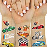 xo, Fetti Race Car Temporary Tattoos for Kids - Glitter style | Birthday Party Supplies, Race Car Party Favors + Construction