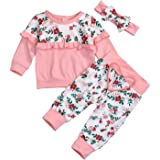 SEVEN YOUNG Kids Toddler Baby Girls Fall Clothes Ruffle Sleeve Floral Shirt Top+Pant Outfit 3Pcs Set