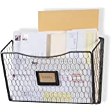 Wall35 Felic Hanging File Holder - Wall Mounted Metal Chicken Wire Magazine Rack - Office Folder Organizer with Name Tag Slot
